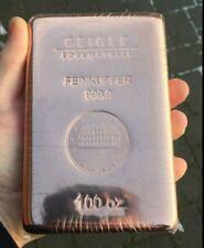 100 Oz Copper Bar Geiger Edelmetalle Investment Grade Bullion .9999 Fine RARE!!!