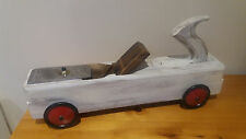 Shabby Chic Vintage Model Racing Car made from Wooden Plane with Meccano Wheels