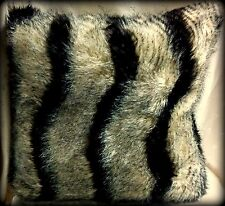 "New Faux Fur & Velour Pillow - Brown & Black Animal Stripes - 20"" Sq."