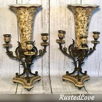 2 Vintage Porcelain Trumpet Vases on Aged Brass stands Candelabras Hand Painted
