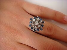 VINTAGE 14K WHITE GOLD SAPPHIRES AND DIAMONDS LADIES CLUSTER RING, SIZE 6
