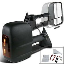 LED SIGNAL 88-98 Chevy C/K 1500/2500/3500 Manual Towing Tow Hauling Mirror PAIR