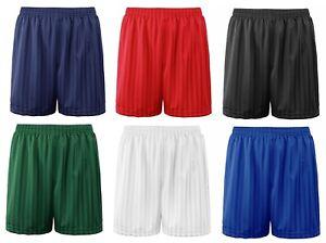 Boys Girls PE School Games Shorts Football Shadow Stripe Childrens Shorts 3-12 Y