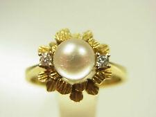 Belle Akoya élevage Perles Diamant fleurs Bague 585 Carats 2 kilolitr. diamant 1970
