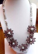 collier réglable bijou style vintage perles de verre fleur en résine mauve P
