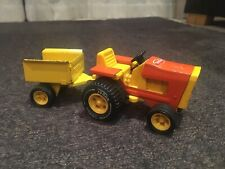 Vintage 1970s Tonka Tractor And Trailer, Die-Cast, Orange and Yellow