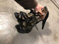 Moda Spana Black Open Toe Sandals Stilettos Pumps Heels Shoes - SZ 9.5M 9.5 M