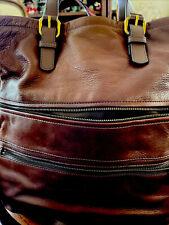 FOSSIL LEATHER INNER OUTER POCKETS GOLD TONE LONG STRAP SHOULDER BAG LXL