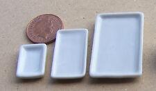 1:12 Scale 3 White Ceramic Plates Tumdee Dolls House Miniature Accessory W10 LMS