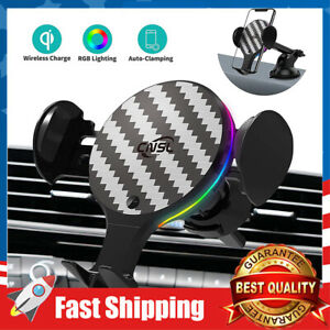 Wireless Car Charger Mount 10W Qi Fast Charging Auto Clmping Holder w/ RGB Light