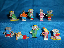 BABAR ELEPHANT Set of 10 Miniature Figures FRENCH PORCELAIN FEVES Mini Figurines