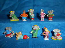 BABAR the ELEPHANT Series 2 Set 8 Mini Figures FRENCH PORCELAIN FEVES Figurines