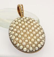 ♦♦ UNIKAT Anhänger Medaillon in 18 kt 750er Gelb Gold mit Perlen Diamanten Perle