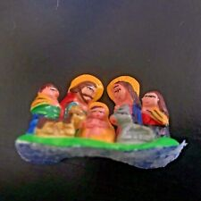 Miniature Nativity Scene Handmade Clay dough Tiny and delicate.