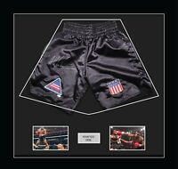 "Boxing Shorts Frame For Mike Tyson With Free 2 x 6"" x 4"" Photos Black Mount"