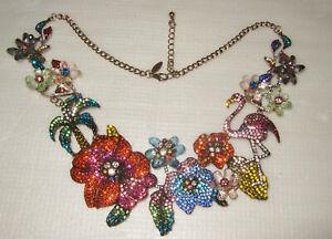 Gorgeous Natasha RS Flamingo Palms Flowers Statement Necklace