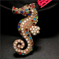 NEW Colorful Crystal Lovely Sea Horse Retro Charm Brooch Pin Gift