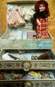 Antique German 8 inch Theodor Recknagel  bisque swivel head doll & trousseau