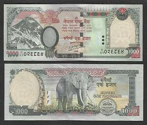 NEPAL Rs1000  MOUNT EVEREST ELEPHANT BANKNOTE UNCIRCULATED