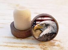 Eagle Wine Stopper, Handmade Eagle & American Flag Dark Wood Cork Bottle Stopper