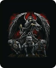Queen Grim Reaper & Death Dogs Hound Luxury Mink Faux Fur Blanket Warm Soft Full