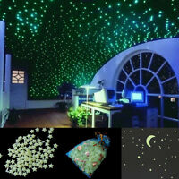 200x Glow in the Dark 3D Star Moon Stickers maison mur bébé chambre autocollant