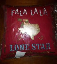 Merry Christmas Texas  Throw Pillow Fa la la la Lone Stare Red Gold New Gift