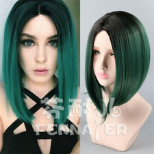 Synthetic Bob Hair Ombre Green Short Straight Middle Part Wigs for Fashion Wig