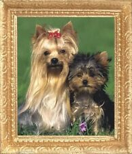 Yorkshire Terriers Dollhouse Picture - Framed Miniature Art - Made In America