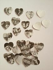 50 Black and White Patterened hearts wedding crafts, scrapbooking table confetti