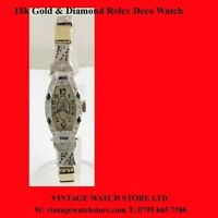 Vintage Rolex  Ladies 18k Gold  Diamond Sapphire  Deco Watch 1947