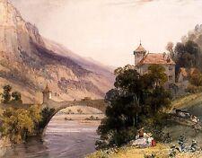 Richard Bonington - The Bridge of St. Maurice, Valais, HD Giclee or Canvas Print