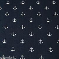 Baumwolljersey MARITIM Anker 12mm auf Marineblau Blauer Jersey Stoff Schiffe