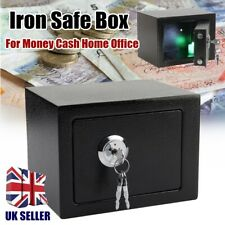 Money Cash Documents Safe Box Home Office Iron Steel Black Key Operated UK