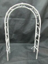 New listing Christmas Fairy Garden Miniature White Wire Arbor With Holly Design
