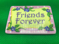 Giftcraft Ceramic Friends Forever Fridge Magnet Pink Polka Dots Purple Flower 2