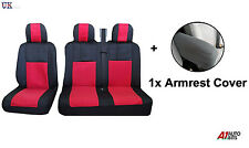 2+1 RED BLACK COMFORT SOFT FABRIC SEAT & ARMREST COVERS FOR VW TRANSPORTER T5 T4