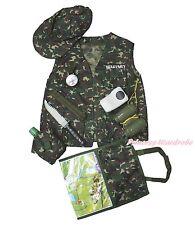 Halloween Army Commando Military Soldier Wargame Kid Costume Uniform 8P Set 3-7Y