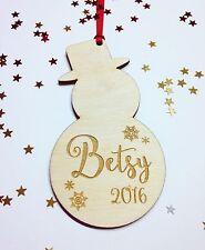 Personalised  Snowman Christmas Tree Decoration Wooden Customised Wood Customise