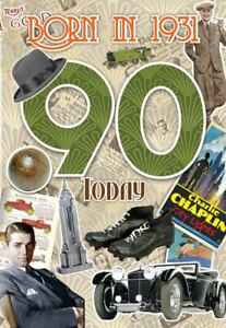 Male 90th Birthday Greeting Card Milestone Age 90 Him Born in 1931 Facts Inside