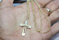 """Vintage 10K Solid Yellow Gold Cross 1.5"""" Pendant Necklace 2 MM Rope Chain 18"""""""