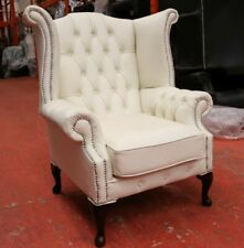 GEORGIAN CHESTERFIELD QUEEN ANNE HIGH BACK WING CHAIR WHITE LEATHER