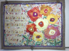 """DECORATIVE CONTEMPORARY FLORAL PATCHWORK TAPESTRY WALL HANGING 21"""" X 16"""""""