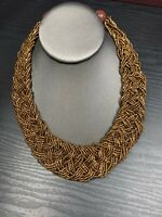"Vintage Bohemian 20"" Woven Dark Gold Glass Colored seed bead Bib Chunky necklace"