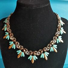 Collar Necklace 16 Inches Beads Gold Tone Faux Turquoise Acrylic Glass M44