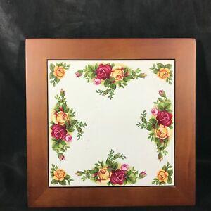 Framed Royal Doulton Rose Floral Tile Trivet