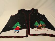 Holiday Edition Ugly Christmas Sweater Vest size 3xl black snowman holiday