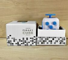 New White & Blue  Full Fidget Cube 6 side anxiety stress attention relief toy