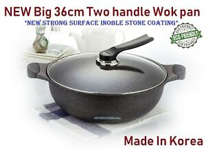 36cm big two handle wok pan with new Stone Non-stick coating Best Quality Korea