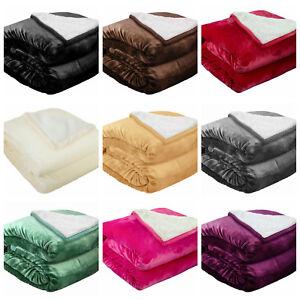 Soft Sherpa Throw Blankets Velvet Reversible Solid Blanket Borrego Twin Size
